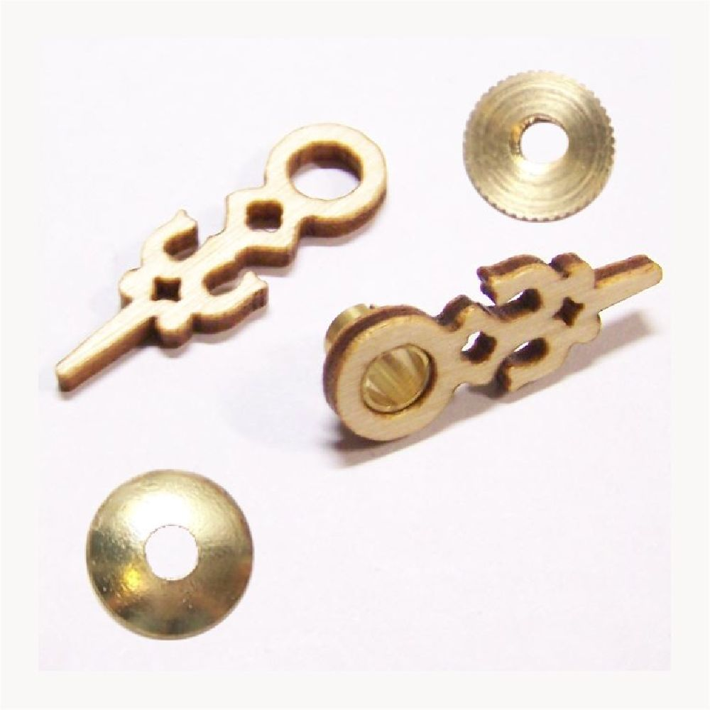 Artikel Nr-H01B73N-4__hochwertige-edle-dreischichtige-holz-zeiger-fuer-kuckucksuhren-mit-einem--ziffernblatt-durchmesser-von-60mm.-inklusive-zeigermutter-und-zeigerscheibe-in-messing.-holz-zeiger-ziffernblatt-durchmesser-60mm-messing