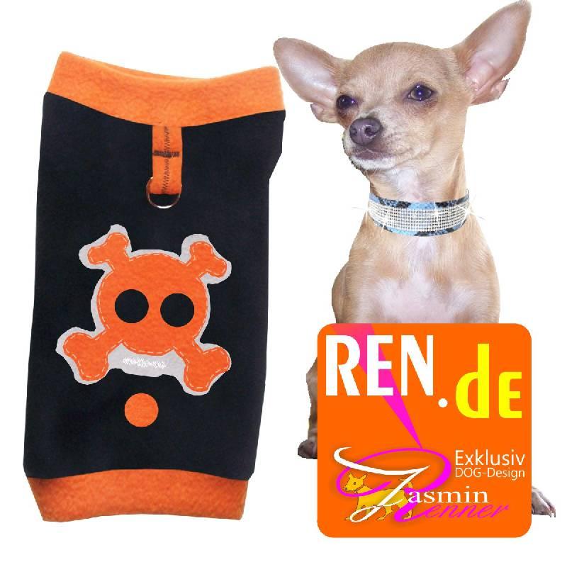 Artikel Nr-H08T82B-4__xxs,-entzueckender-pulli-fuer-kleine-hunde-in-der-farbe-schwarz-mit-orangenem-kragen-und-buendchen-aus-edlem-fleece-mit-d-ring.