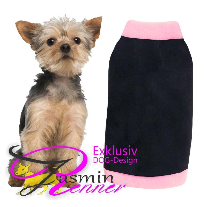 Artikel Nr-H08T92B-4__xxs,-entzueckender-hundepulli-in-schwarz-mit-rosanem-buendchen-und-kragen-aus-edlem-fleece.-fleece