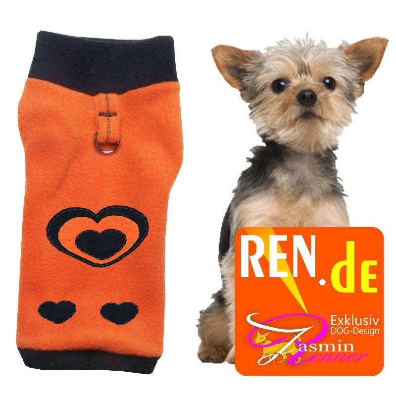 Artikel Nr-H09T24B-4__xxs,-schoener-hundepulli-in-der-farbe-orange-mit-schwarzem-buendchen-und-kragen-aus-fleece-stoff-mit-d-ring.