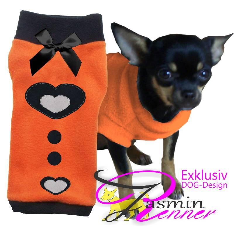 Artikel Nr-H09T34B-4__xxs,-wunderschoener-pullover-fuer-hunde-in-orange-mit-schwarzem-buendchen-und-kragen-aus-qualitaets-fleecestoff.