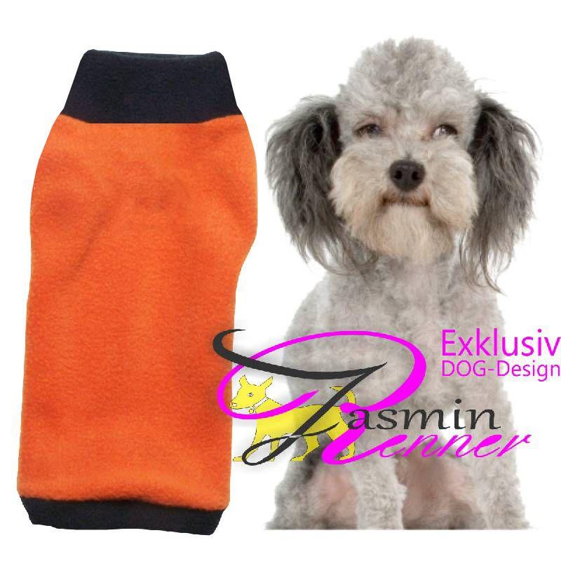 Artikel Nr-H09T39B-4__xxs,-huebscher-pulli-fuer-hunde-in-orange-mit-schwarzem-kragen-und-buendchen-aus-fleecestoff.-fleecestoff