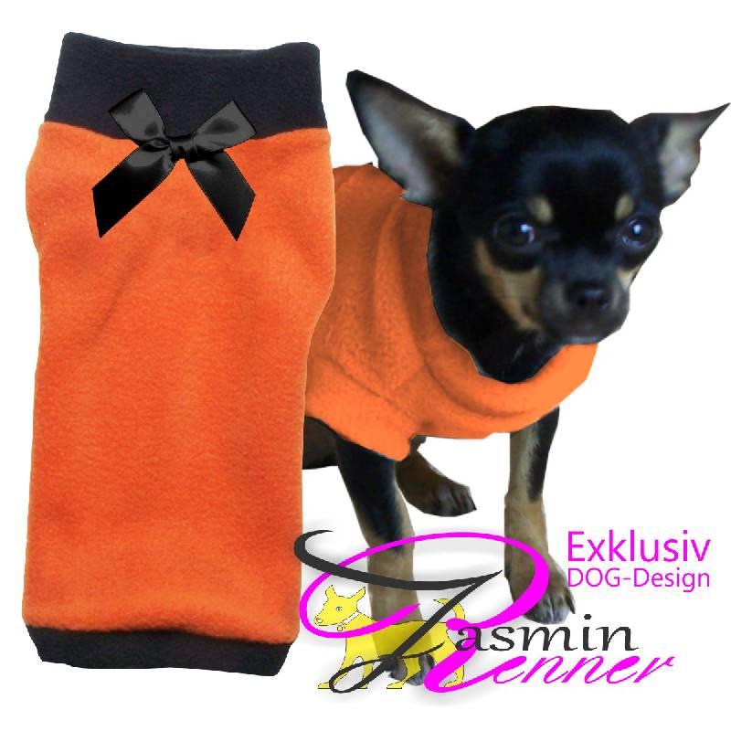 Artikel Nr-H09T42B-4__xxs,-designer-pulli-fuer-hunde-in-orange-mit-schwarzem-buendchen-und-kragen-aus-edlem-fleece.-fleece