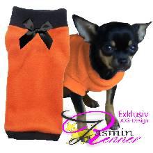Artikel Nr-H09T42B-0__xxs,-designer-pulli-fuer-hunde-in-orange-mit-schwarzem-buendchen-und-kragen-aus-edlem-fleece.-fleece