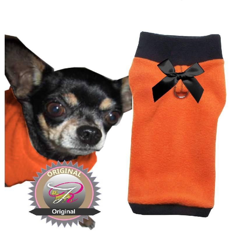 Artikel Nr-H09T43B-4__xxs,-herrlicher-hundepulli-in-der-farbe-orange-mit-schwarzem-kragen-und-buendchen-aus-fleecestoff-leinenring.-leinenring