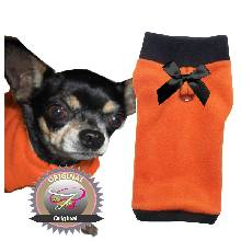 Artikel Nr-H09T43B-0__xxs,-herrlicher-hundepulli-in-der-farbe-orange-mit-schwarzem-kragen-und-buendchen-aus-fleecestoff-leinenring.-leinenring