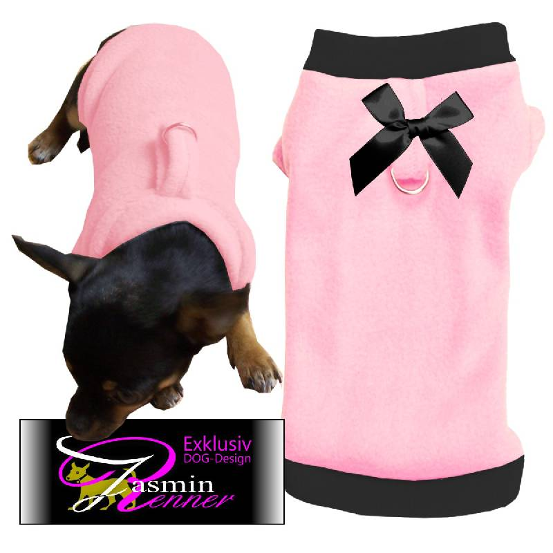 Artikel Nr-H09T46B-4__xxs,-reizender-hundepullover-in-der-farbe-rosa-mit-schwarzem-buendchen-und-kragen-aus-qualitaets-fleece-leinen-ring.-qualitaets-fleece-leinen-ring