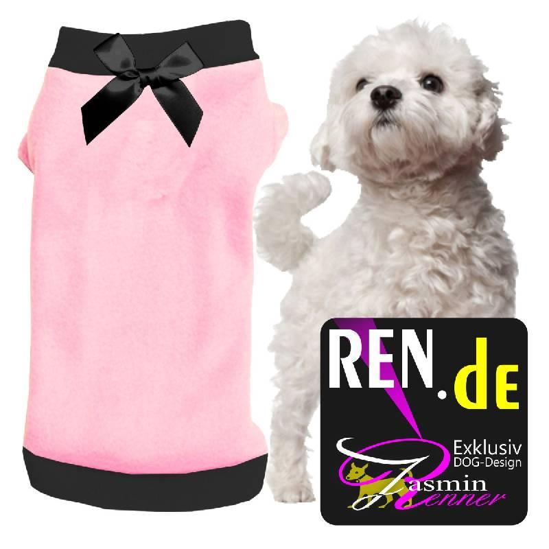 Artikel Nr-H09T47B-4__xxs,-herrlicher-pullover-fuer-hunde-in-der-farbe-rosa-mit-schwarzem-buendchen-und-kragen-aus-qualitaets-fleece.-qualitaets-fleece