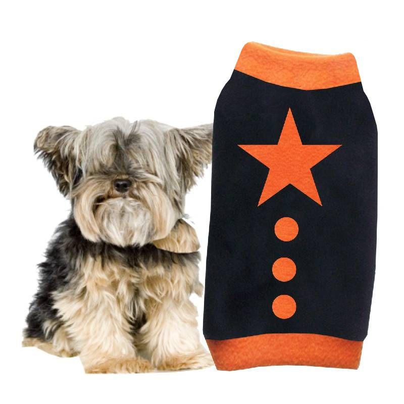 Artikel Nr-H09T93B-4__xxs,-stilvoller-pullover-fuer-kleine-hunde-in-der-farbe-schwarz-mit-orangenem-buendchen-und-kragen-aus-fleecestoff.-fleecestoff