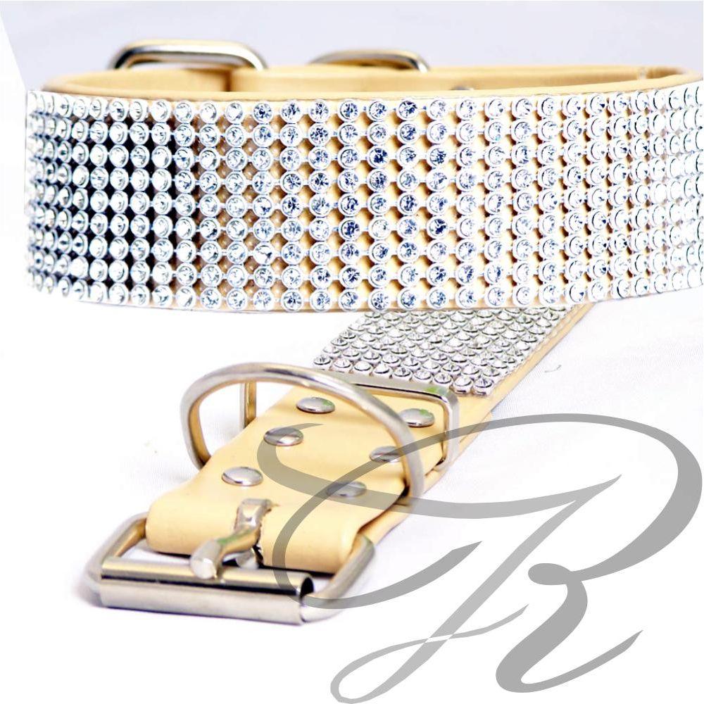 Artikel Nr-H67T23B-4__xs,-30mm-hundehalsband-mit-strass-9-reihig-in-schoenen-beige.-9-reihig-beige