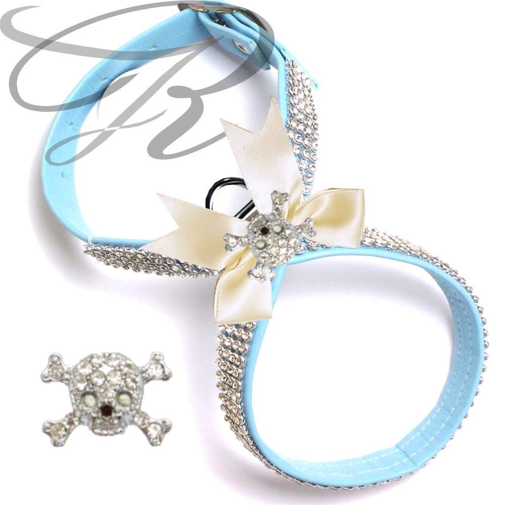 Artikel Nr-H68T75B-4__xxs,-hundegeschirr-strassgeschirr-brustgeschirr-blau,-schleife-und-strass-totenschaedel-blau