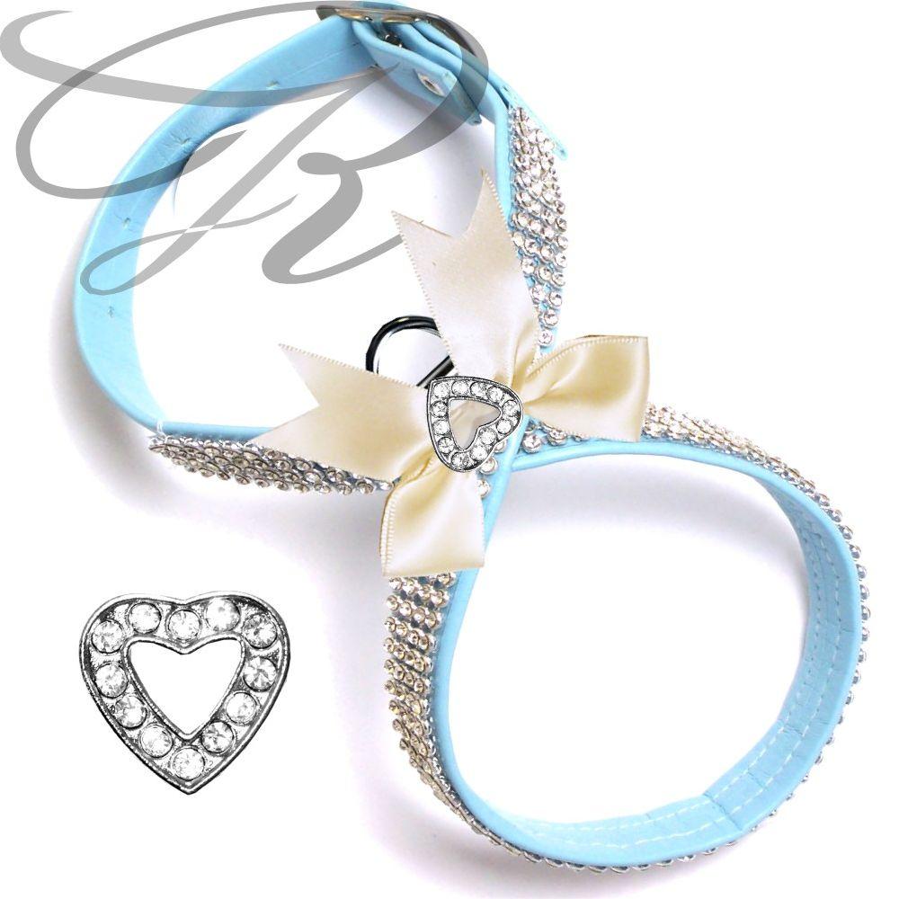 Artikel Nr-H68T79B-4__xxs,-hundegeschirr-strassgeschirr-brustgeschirr-blau,-schleife-und-strass-herz-blau