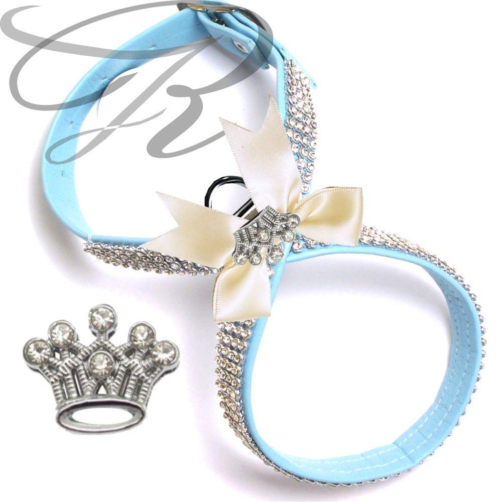 Artikel Nr-H68T83B-4__xxs,-hundegeschirr-strassgeschirr-brustgeschirr-blau,-schleife-und-strass-krone-blau