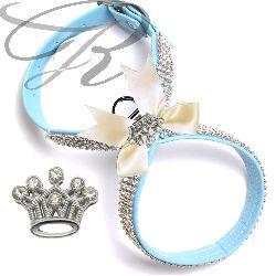 Artikel Nr-H68T83B-0__xxs,-hundegeschirr-strassgeschirr-brustgeschirr-blau,-schleife-und-strass-krone-blau