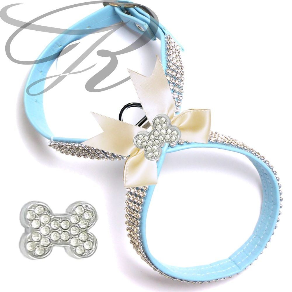 Artikel Nr-H68T87B-4__xxs,-hundegeschirr-strassgeschirr-brustgeschirr-blau,-schleife-und-strass-knochen-blau