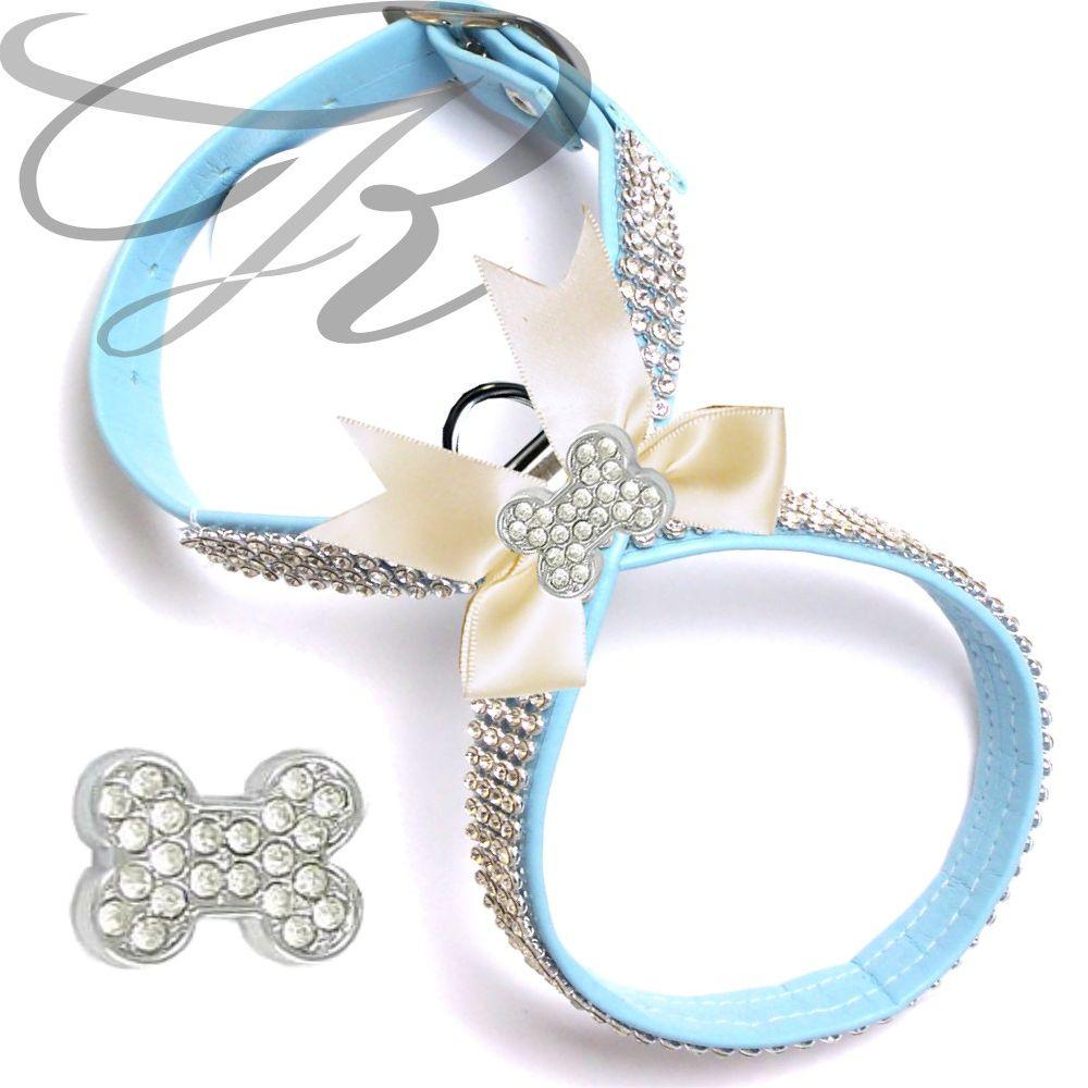 Artikel Nr-H68T88B-0__xs-hundegeschirr-strassgeschirr-brustgeschirr-blau,-schleife-und-strass-knochen