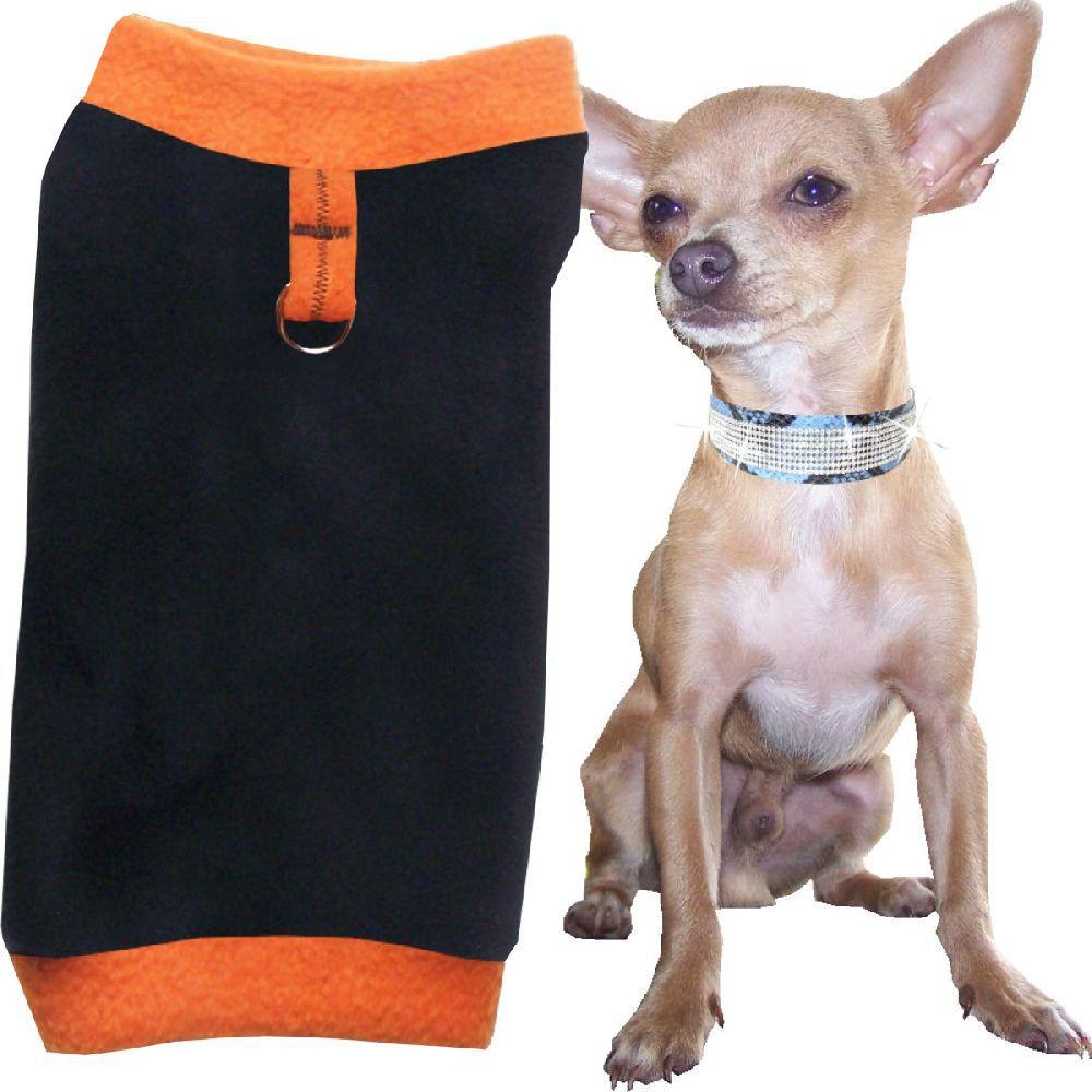 Artikel Nr-H71T40B-4__xxs,-flauschiger-pullover-fuer-kleine-hunde-in-der-farbe-schwarz-orange-aus-qualitaets-fleecestoff-mit-leinenring.-schwarz-orange-qualitaets-fleecestoff-leinenring