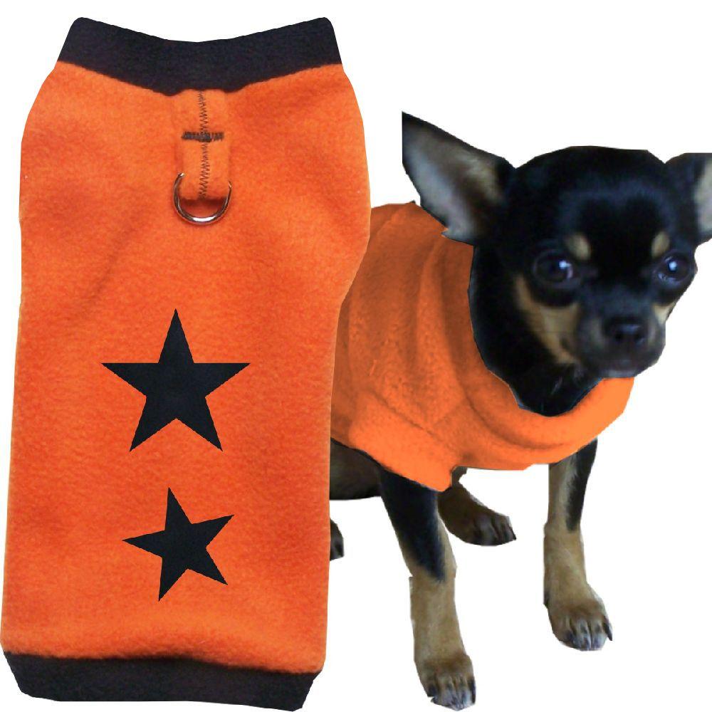 Artikel Nr-H72T02B-0__flauschiger-m-pullover-fuer-kleine-hunde-in-der-farbe-orange-black-mit-sternen-aus-qualitaets-fleecestoff-mit-leinenring.