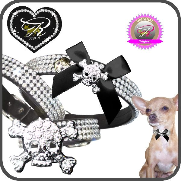 Artikel Nr-H74T08B-4__xxs,-hundehalsband-in-schwarz-mit-strass-totenkopf-und-schleife-strass-totenkopf