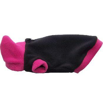 Artikel Nr-H80T87B-1__xxs,-flauschiger-pullover-mit-kaputze-u.-herz-in-der-farbe-schwarz-pink-aus-qualitaets-fleecestoff-leinenring.-u-schwarz-pink-qualitaets-fleecestoff-leinenring