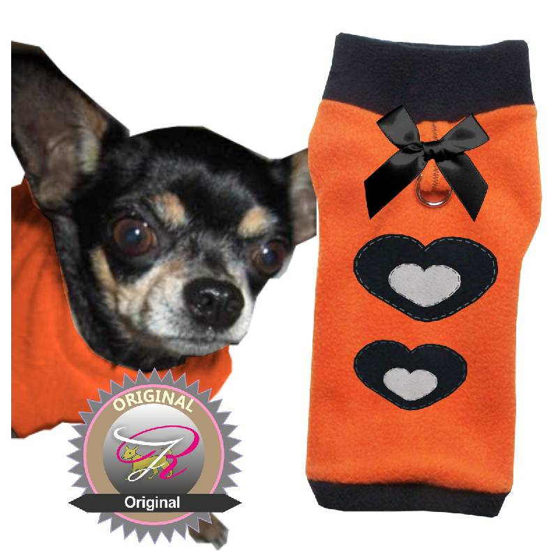 qualit ts pulli f r hunde in orange mit schwarzem b ndchen und kragen aus qualit ts fleece mit d. Black Bedroom Furniture Sets. Home Design Ideas
